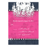 Denim Diamond Wedding Floral Pink Chandelier Reply Business Card Template