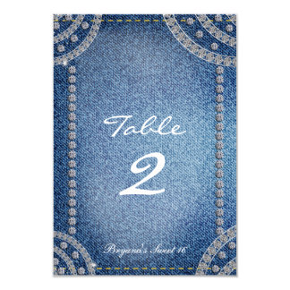 Denim & Diamonds Birthday Party Table Number Card