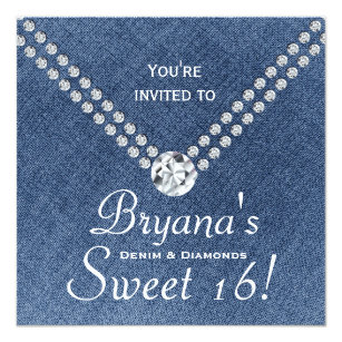 Denim And Diamonds Invitations Announcements Zazzle