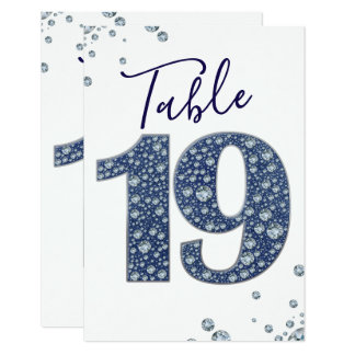 Denim & Diamonds Bling Sparkle Table Number 19