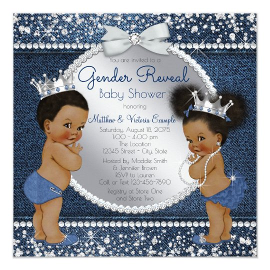 Denim diamonds ethnic gender reveal shower invitation zazzle denim diamonds ethnic gender reveal shower invitation filmwisefo