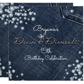 Denim & Diamonds Glam Tiara Crown Party Invitation