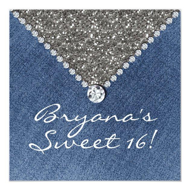 Denim Diamonds Silver Glitter Sweet 16 Invitation