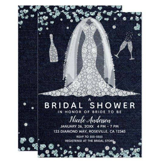 Denim Diamonds Wedding Dress Bridal Shower Glam Invitation
