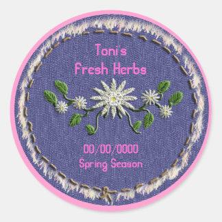 denim floral canning classic round sticker