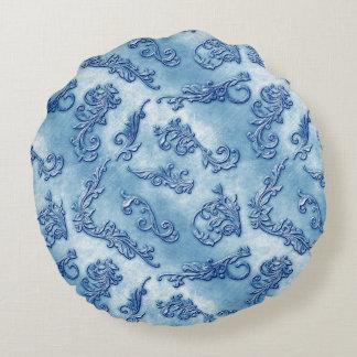 Denim Florishes Round Pillow
