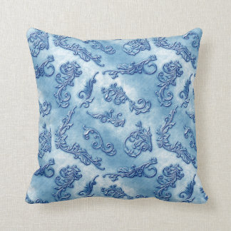 Denim Florishes Throw Pillow