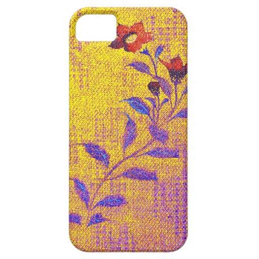 Denim Flower -gold - iPhone 5 Case