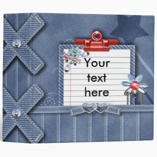 denim girly notes journal 3 ring binder