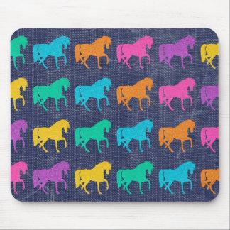 Denim Glitter Horses Design Mouse Pad