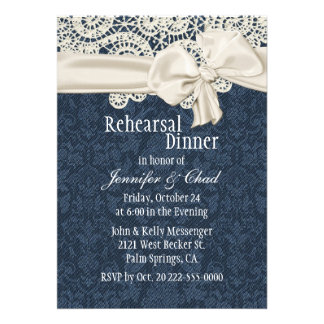 Denim & Ivory Lace Wedding Rehearsal Dinner Announcement