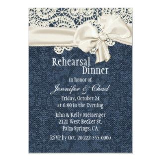 "Denim & Ivory Lace Wedding Rehearsal Dinner 5"" X 7"" Invitation Card"
