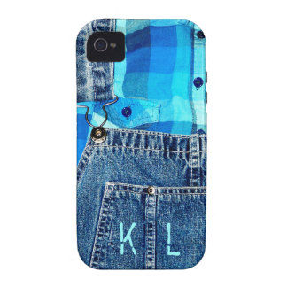 Denim Jean Overalls and Plaid Shirt iPhone 4/4S Cover