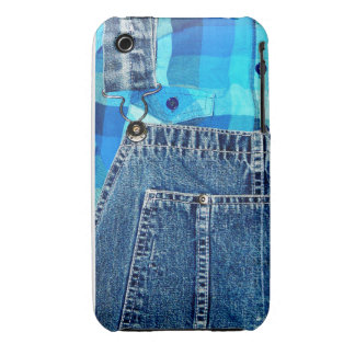 Denim Jean Overalls and Plaid Shirt iPhone 3 Case-Mate Case