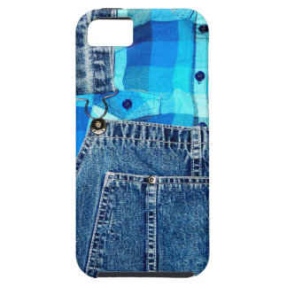 Denim Jean Overalls and Plaid Shirt iPhone 5 Cover
