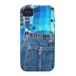 Denim Jean Overalls and Plaid Shirt iPhone 4/4S Cases