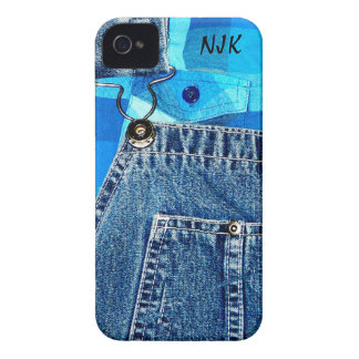 Denim Jean Overalls and Plaid Shirt iPhone 4 Case
