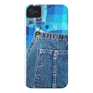 Denim Jean Overalls and Plaid Shirt iPhone 4 Cover