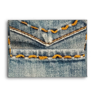 Denim Jean Stitched Pocket Birthday Party Envelope
