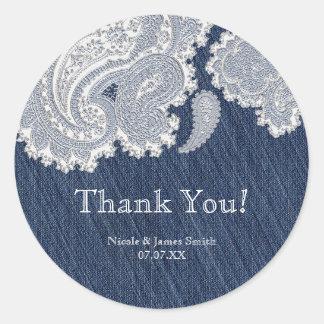 Denim Jean & White Lace Elegant Bridal Wedding Classic Round Sticker