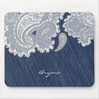 Denim Jean & White Lace Elegant Mouse Pad
