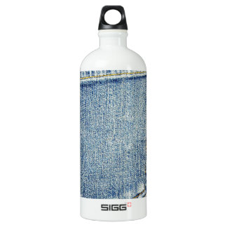 Denim Jeans Pocket Blue Fabric style fashion rich Aluminum Water Bottle