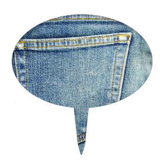 Denim Jeans Pocket Blue Fabric style fashion rich Cake Topper