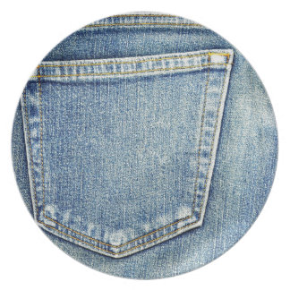 Denim Jeans Pocket Blue Fabric style fashion rich Melamine Plate
