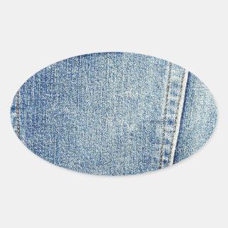 Denim Jeans Pocket Blue Fabric style fashion rich Oval Stickers