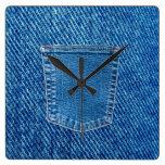 Denim Jeans Pocket Western Wall Clock