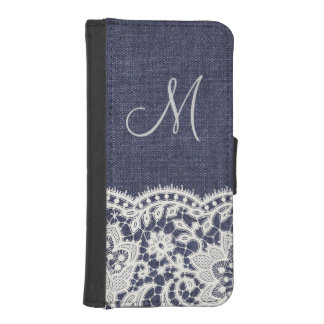 Denim Jeans White Lace Monogram Fake Wallet Case