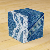 Denim & Lace Printed Wedding Favor Boxes Custom