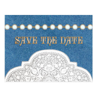 Denim Lace  Save the Date POSTCARDS