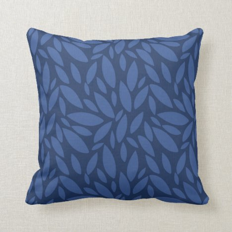 Denim look leaf shapes in light and dark blue throw pillow