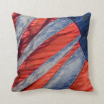 Denim Look Patriotic American Flag Throw Pillow