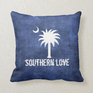 Denim Look South Carolina Love Palmetto Tree Throw Pillow