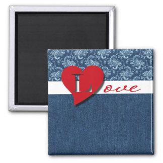 Denim Love . Valentine's Day Gift Magnet