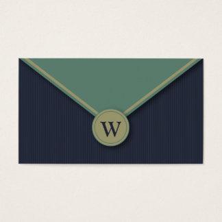 Denim Monogram Elegant Envelope Business Cards