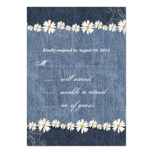 Denim n Daisies Wedding Response Card Business Card Templates