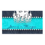 Denim n Diamonds Chandelier Floral Turquoise Blue Business Card