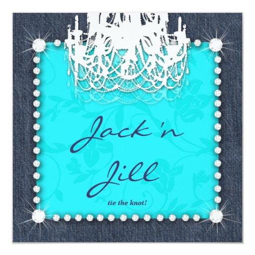Denim n Diamonds Wedding Chandelier Floral Blue Invitation