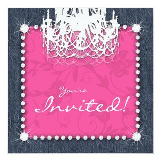 Denim n Diamonds Wedding Chandelier Floral Pink Card