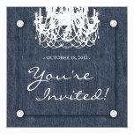 Denim n Diamonds Wedding Invitation Chandelier