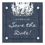 Denim n Diamonds Wedding Invitation Chandelier 1