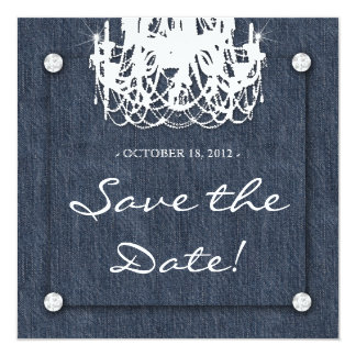 Denim n Diamonds Wedding Invitation Chandelier 1