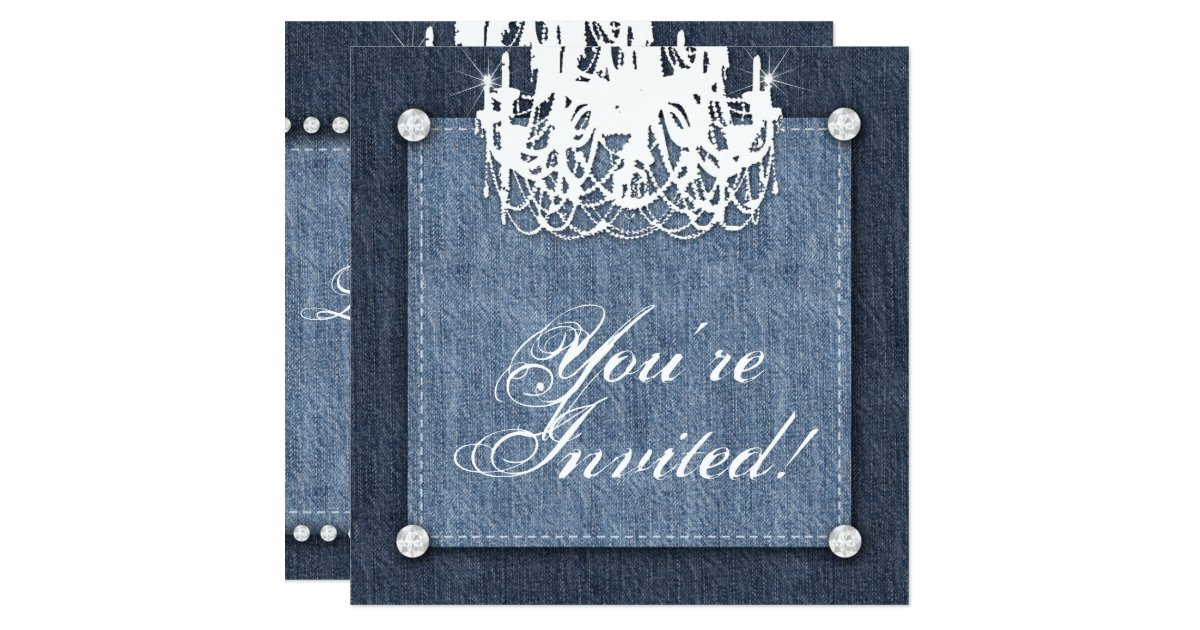 Denim Wedding Invitations: Denim N Diamonds Wedding Invitation Chandelier Lt
