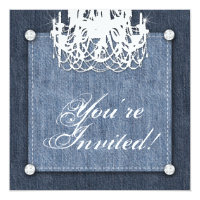 Denim n Diamonds Wedding Invitation Chandelier Lt
