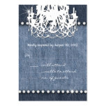 Denim n Diamonds Wedding Response Card Chandelier Business Card Templates