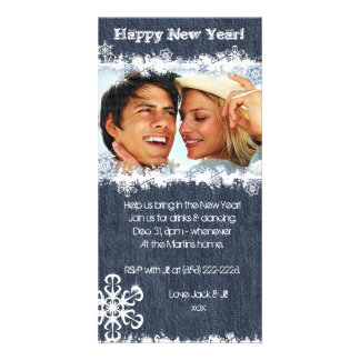 Denim New Year's Party Christmas Snowflake Card