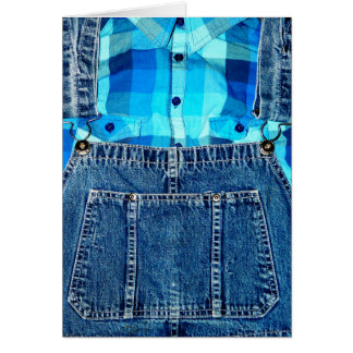 Denim Overalls and Plaid Card